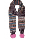 Wool knitted scarf PINK POMPOM