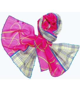 Cotton scarf FUCHSIAVERT Leo Atlante