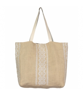 Jute Beach Bag beige and white ARUBA