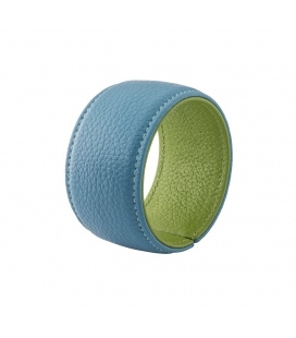 Cuff bracelet in ice blue and olive green leather SYLVIE