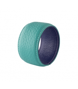 Cuff bracelet in aqua marine leather SYLVIE