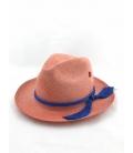 Chapeau Panama Fedora corail