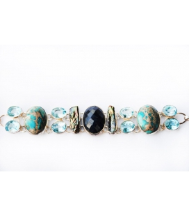 Silver bracelet set with semi-precious stones PRECIOUS BLUE by Tipthara